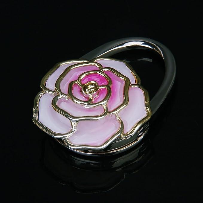 Noir TOOGOO Crochet Support de Sac a Main Pliant Durable en Forme de Fleur de Rose R