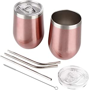 2 pack Stainless Steel Stemless Wine Tumbler With Spill Proof Lid, 12 oz Double Wall Vacuum Insulated Wine Glass Tumbler for Wine, Coffee, Ice Cream, Cocktails, Champagne with 3 Straws - Rose Gold