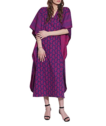 5777b65daac30 Free Size Tunic Casual Cotton Kaftan Beach Wear Comfortable Airy Dress for  Women Printed