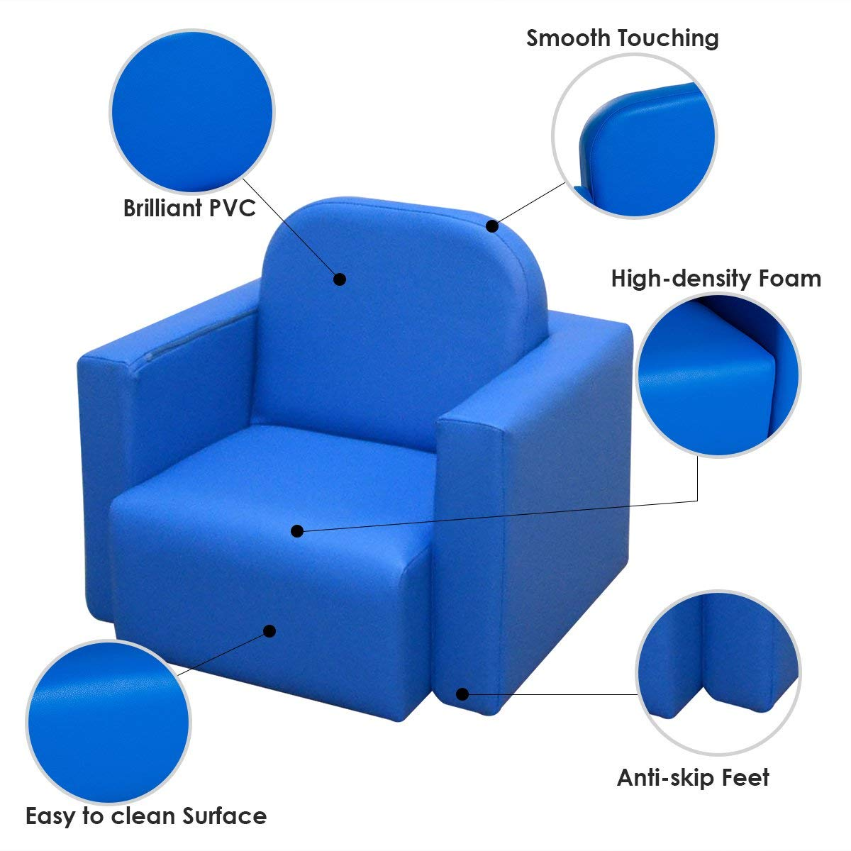 Festnight 2-in-1 Kids Table and Chair Set PVC Multifunctional Convertible Children Sofa