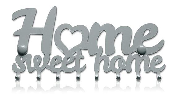 Colgador de Llaves de Pared Home Sweet Home (8 Ganchos) Guardallaves Decorativo de Metal Para Cocina, Garaje o Puerta de Casa | Llaves de Tienda, ...