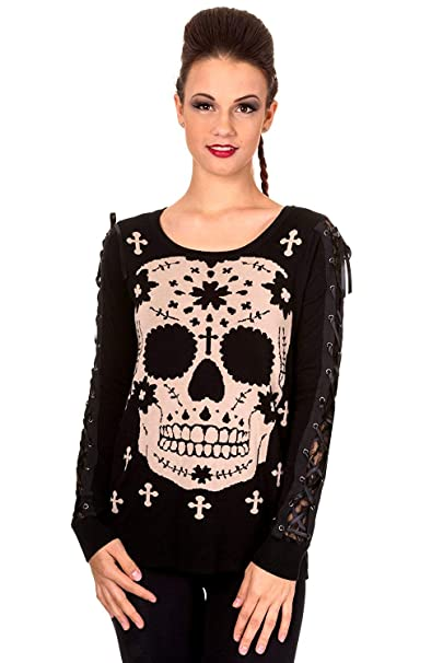 Lost Queen Mexican Sugar Skull Cross Black Lace Up Sleeve