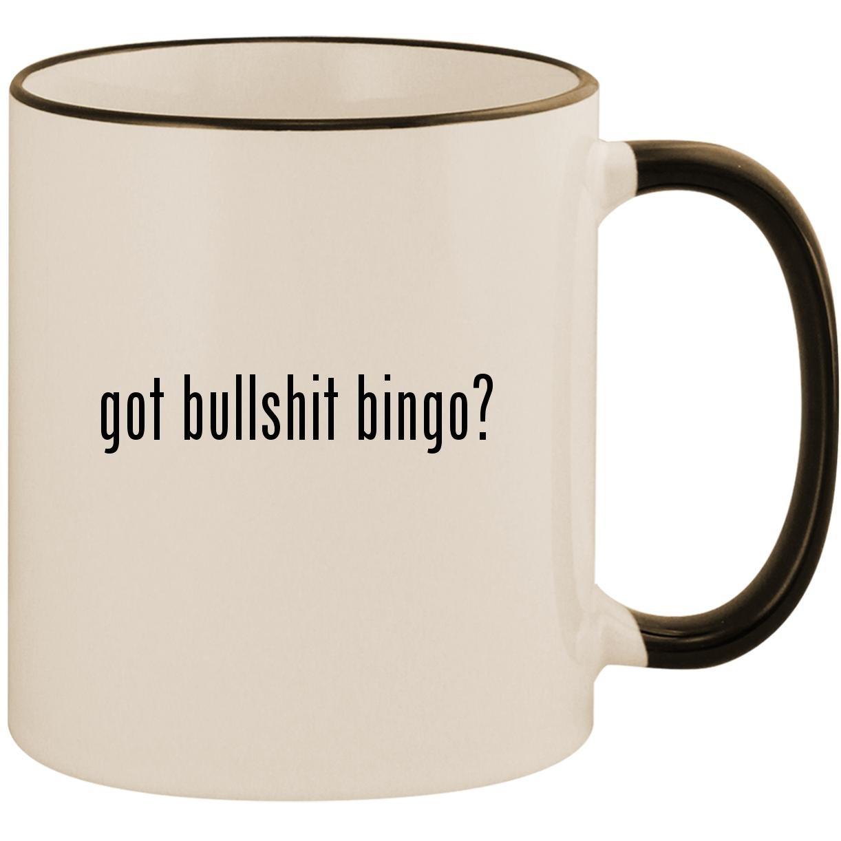 got bullshit bingo? - 11oz Ceramic Colored Handle & Rim Coffee Mug Cup, Black