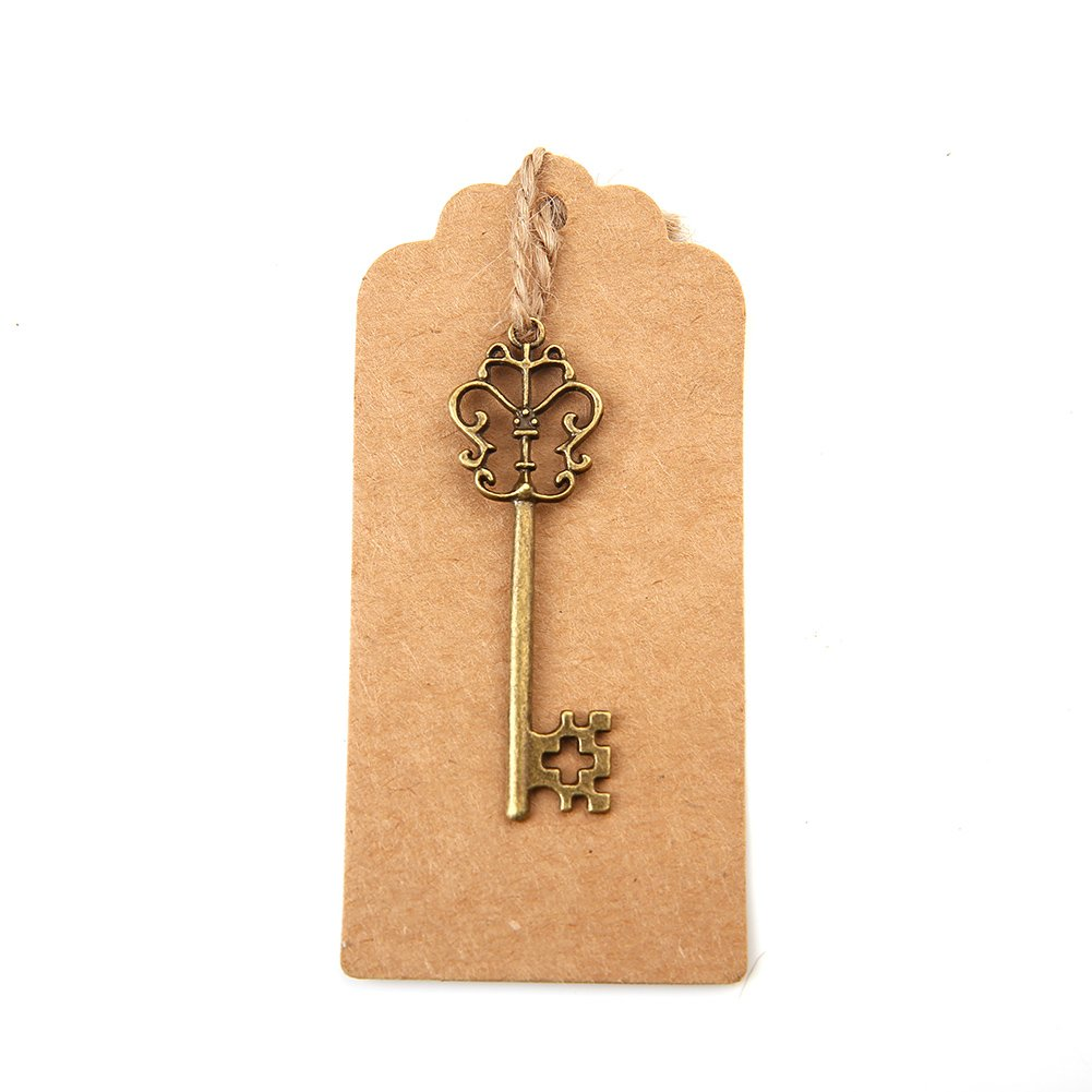 Bingcute Mixed Set of 30 Vintage Antique Silver Skeleton Key Charm With 30PCS Kraft Paper Gift Tags /& 30 Feet Natural Jute Twine