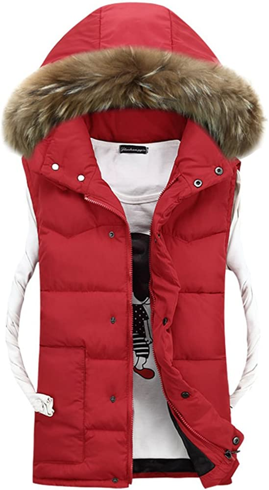 BOZEVON Winter Mens Warm Coat Faux Fur Down Hooded Fur Collar Jacket Vest Gilet