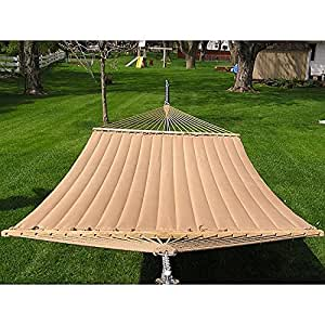 Marrón acolchado hamaca, hermoso color marrón, acolchado, con dos adultos, proporciona una gran cantidad de espacio de, Super suave poliéster, acabado transparente, resistente a la intemperie, UV Protección