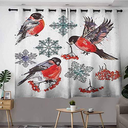 VIVIDX Custom Curtains,Rowan Christmas Collection of Bullfinch Birds Snowflakes Rowan in Watercolor Style,Blackout Draperies for Bedroom,W55x45L Scarlet Grey Black ()