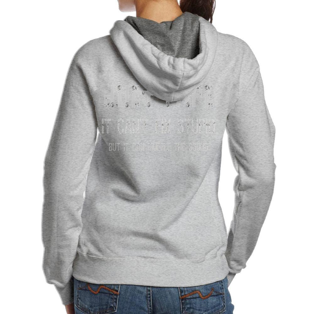 MzmfH Duct Tape It Canâ€t Fix Stupid But It Can muffle The Sound Long Sleeve For Women Custom Hoodie Sweatshirt Ash