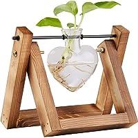 jiabang Glass Planter Terrarium with Retro Solid Wooden Stand for Hydroponics Plants Flowers, Home Garden Wedding Decor, Desktop Table Shelf Showpiece
