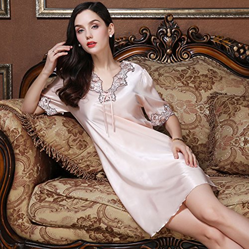 fc607b8df9 Amazon.com  MH-RITA Silk pajamas female summer short-sleeved Nightdress