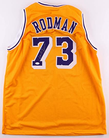 huge discount 4926b 7d236 Dennis Rodman Autographed Yellow Los Angeles Lakers Jersey ...