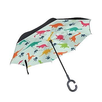 jstel doble capa diseño colorido paraguas de dinosaurios coches Reverse resistente al viento lluvia paraguas para
