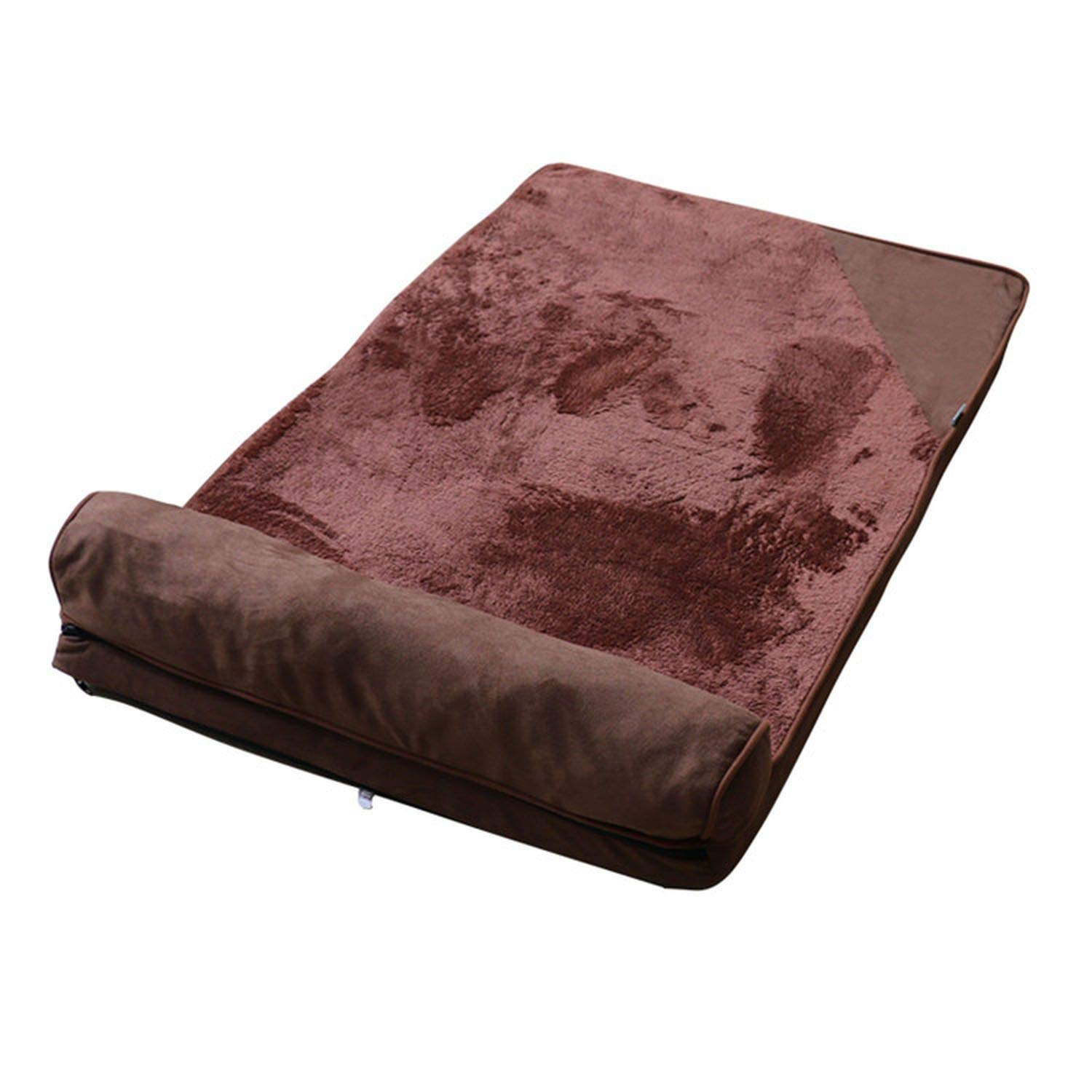 Brown L 100x65cm brown L 100x65cm CHUNXU Dog Beds for Large Dogs House Sofa Kennel Square Pillow Husky Labrador Teddy Large Dogs Cat House Beds Mat,brown,L 100x65cm