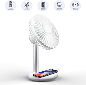LivinArts USB Desk Small Fan, Ultra Quiet Touch Control Office Desk Fan with Wireless Phone Charger, Dimmable Lamp, Built-in 4000mah Battery, 10 Speeds Desktop Table Cooling Fan for Home Office Bedroom