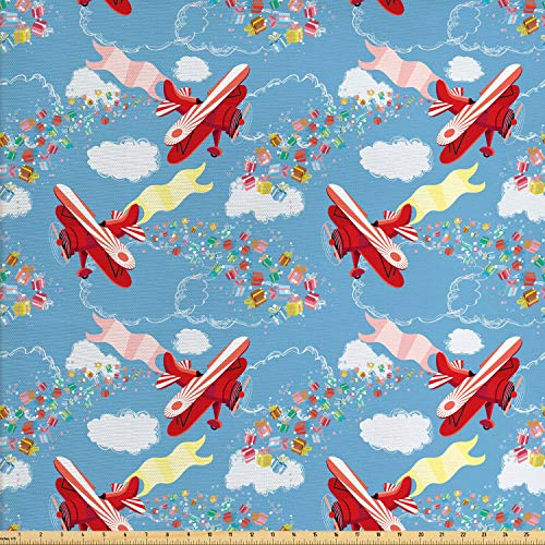 Ambesonne Airplane Fabric by The Yard, Retro Biplanes with Pennants Throwing Present Boxes Announcement Celebration Art, Decorative Fabric for Upholstery and Home Accents, 1 Yard, -