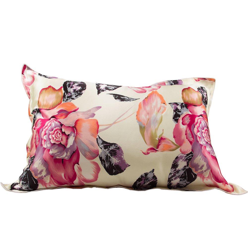 IBraFashion Natural Silk Pillowcase for Hair and Skin Beauty Anti-Aging Big Flower Print Standard/Queen