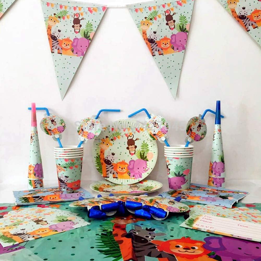Forniture per Feste di Compleanno per Bambini Tema Animale 74pcs Decorazione di Compleanno di Leone,Zebra,Elefante,Include USA e Getta Piatti,Tazza,Tovagliol e Cannucce per Festa Compleanno Bambini