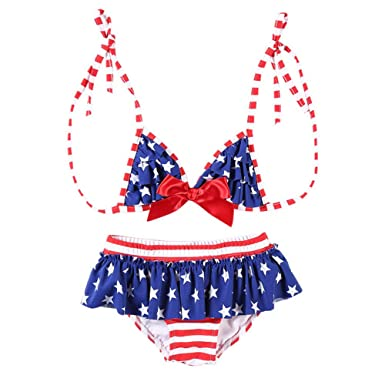 671f03a8d Image Unavailable. Image not available for. Color: Little Girls Flag  Bathing Suit Two Piece USA ...