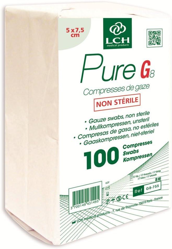 LCH compresa de gasa no stérile 5 x 7,5 cm): Amazon.es: Salud y cuidado personal