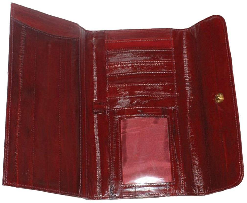 Genuine Eel skin Ladies Checkbook Wallet Slim Design with Silk touch Eel skin Leather
