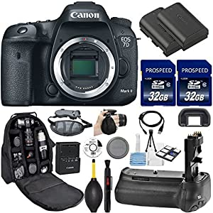 Canon EOS 7D Mark II DSLR Camera. Kit Includes, 2Pcs 32GB Commander MemoryCard + Battery Grip + Extra Battery + Backpack Case + Grip Strap + Air Blower + Cleaning Kit