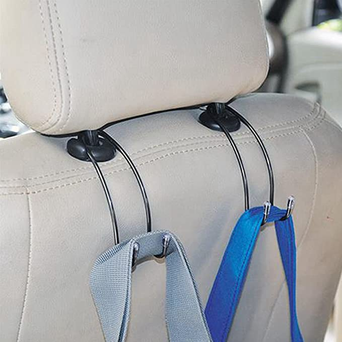 TIANOR 4Pcs Car Interior Metal Hanger Hook- Universal Car Headrest Hook Multifunction Car Seat Headrest Hanger Holder Clip Hooks Hanger Removable Shopping Bag Clothes Purses Holder