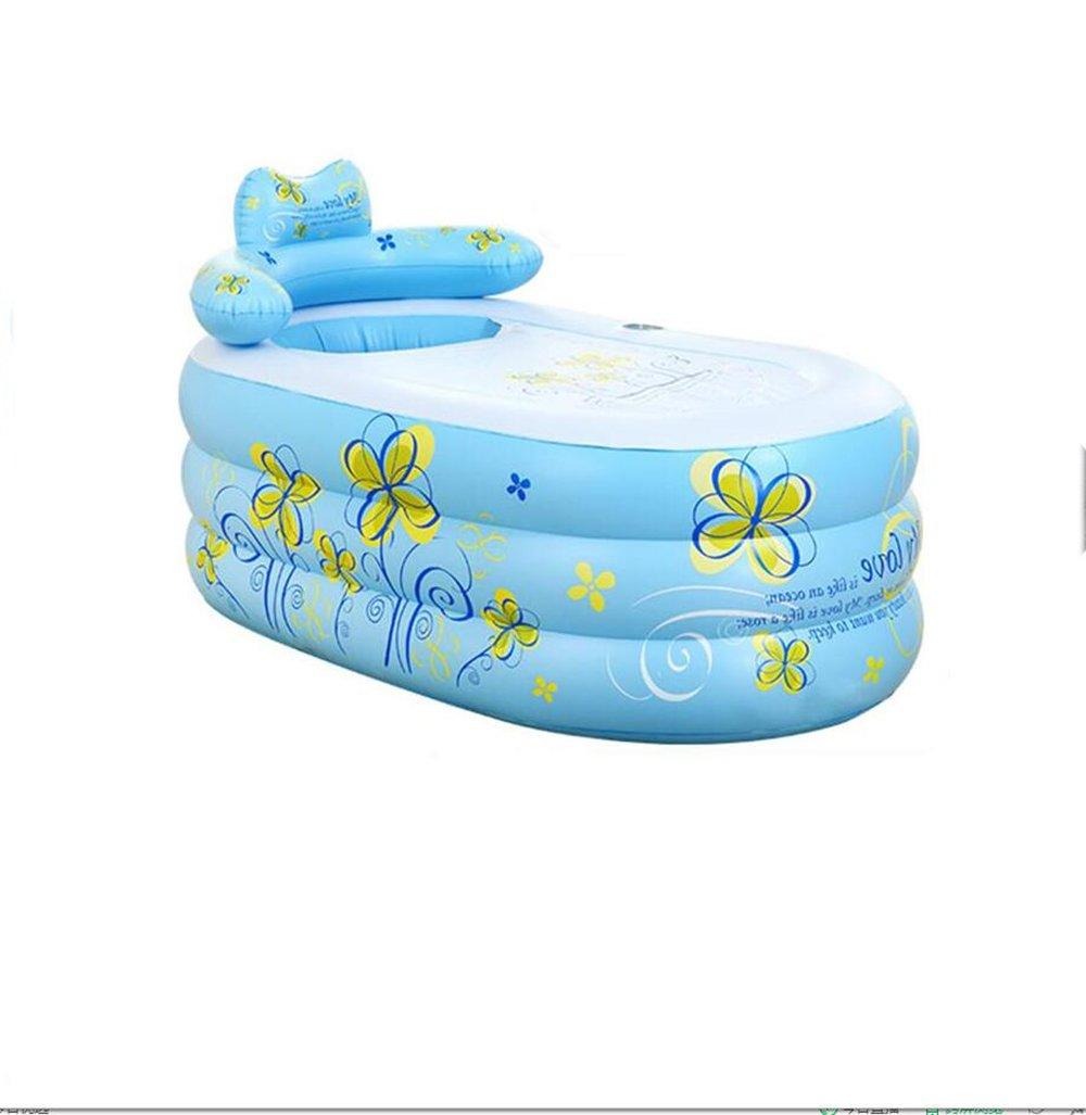 LQQGXL,Bath Inflatable adult bath tub folded pvc material bathtub pump Inflatable bathtub ( Color : Blue )