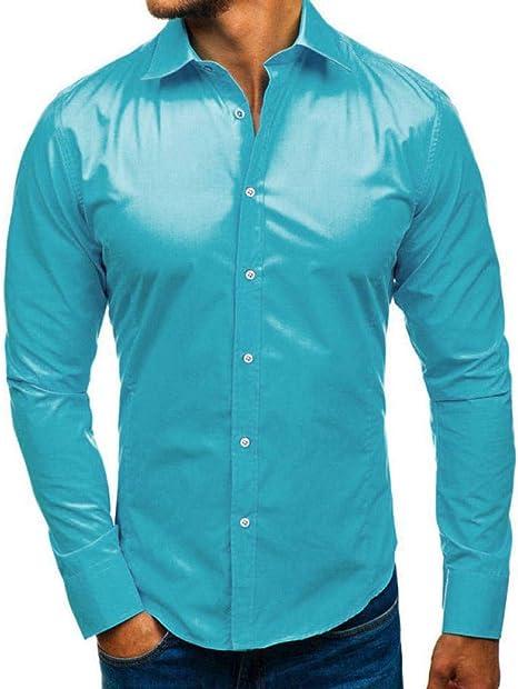 YFSLC-Studio Camisa De Manga Larga Hombre,Blue Mens Slim Fit Camiseta Moda Casual Camiseta Personalizada De Estilo Británico Sólido Absorba La Humedad del Algodón Camisa Manga Larga: Amazon.es: Deportes y aire libre