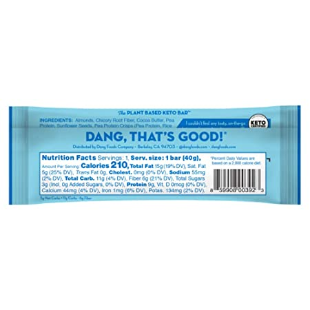 Dang Bar – KETO CERTIFIED, Low Carb, Low Sugar, Plant Based, Gluten Free, Real Food Snack Bar, 3g Sugar, 5g Net Carbs, No Sugar Alcohols or Artificial Sweeteners, 12 Count Almond Vanilla