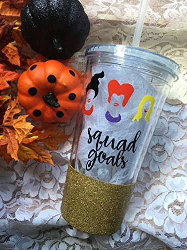 Hocus Pocus Inspired 20oz Tumbler • Squad Goals Sanderson Sisters Funny Glitter Tumbler • Custom Halloween Tumbler • Fall Tumbler • - 2 Mean What Day Is Priority Mail