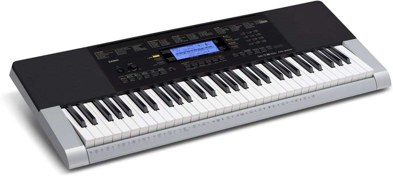 Casio Ctk-4400 - Teclado electrónico (61 teclas, con acompañamiento y altavoces), color negro y gris