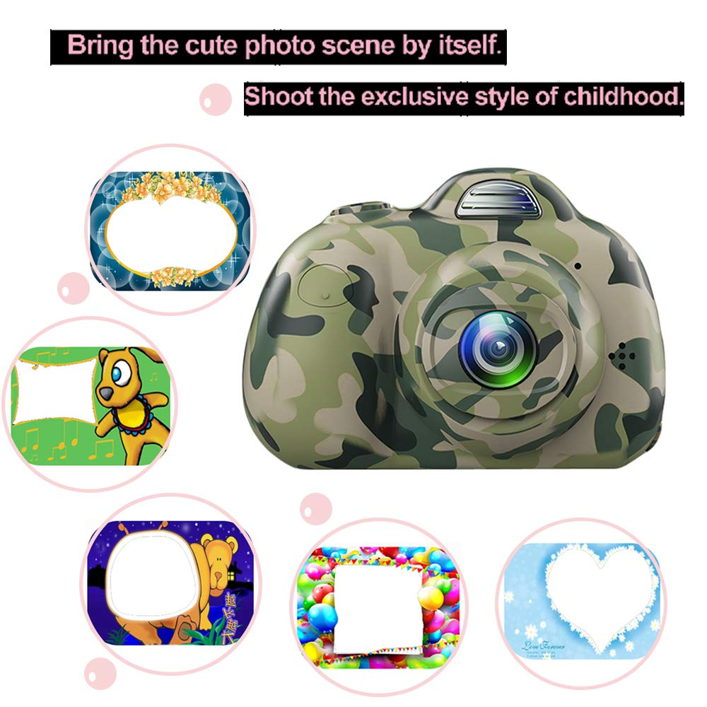 PerfectPromise Kids Camera,Great Gift for 3-10 Years Old Boys Girls,Dual 8MP HD Video Toy Camera & Camcorder with Soft Silicone Shell for Child Outdoor Play --Camo (32G TF Card Included) by PerfectPromise (Image #6)