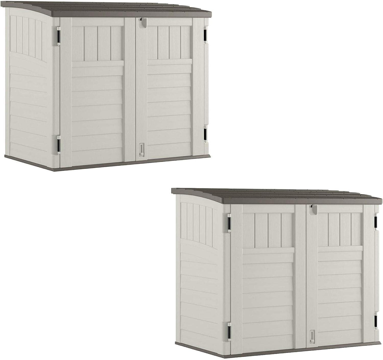 Suncast 34 CU Durable Resin Horizontal Storage Shed w/Reinforced Floor (2 Pack)
