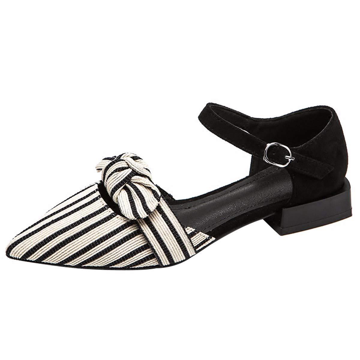 KPHY-Darauf Schmetterling Knoten Sandaleen Baotou Schuhe Flache Schuhe cm 38 Schwarz