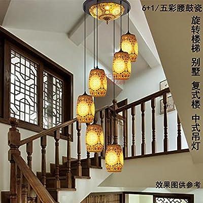 Villa dúplex antiguo chino cerámica iluminación lámparas lámparas espiral escalera iluminación salón lámpara LED, 6 + cubierta de la correa del tambor 1 / colorido--enviar 7WLED: Amazon.es: Iluminación