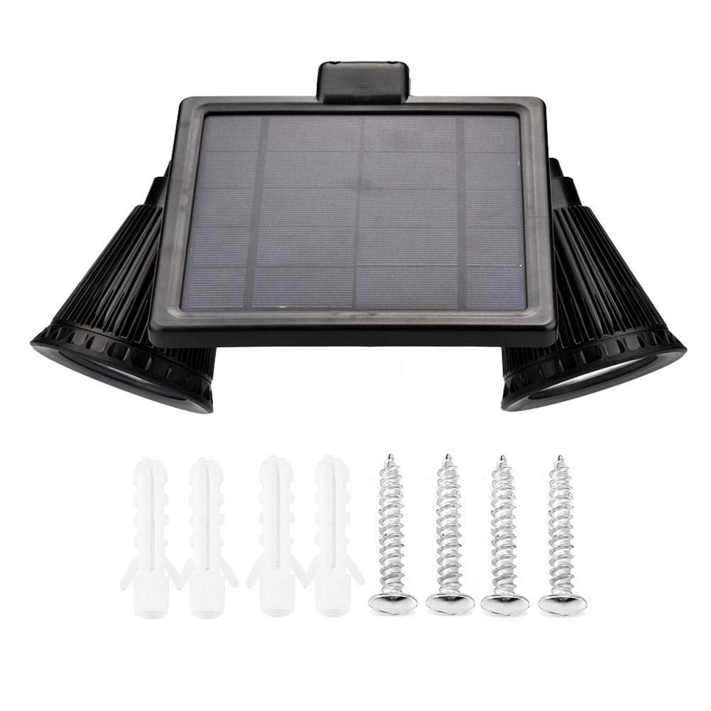 Riuty Solar Lights Motion Sensor, Double Spotlights 8 LED Solar Powered Dual Head 360 Degree Rotatable Security Light for Patio Porch Deck Yard Garden Garage Driveway