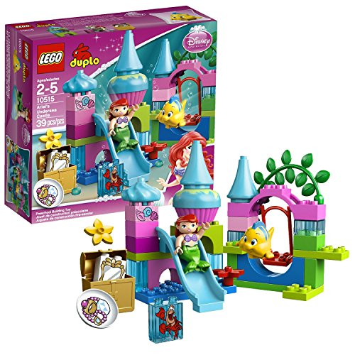 Disney Swing Sets (Lego Year 2013 Duplo Disney Series Set #10515 - ARIEL'S UNDERSEA CASTLE with Slide, Swing, Seaweed, Chest and a Sebastian-Decorated Brick Plus Ariel and Flounder Figure (Total Pieces: 39))