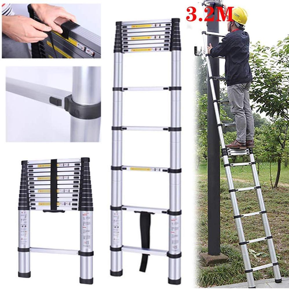 HSJLH 3,2 m 10,5 Yingchi Escalera de extensión de Aluminio, de múltiples Funciones telescópica portátil Sola Escalera, Carga 150kg / 330lb Adecuado para Interiores y Exteriores: Amazon.es: Hogar