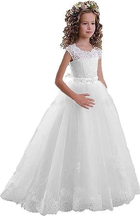 Amazon Kissangel White Lace Flower Girl Dresses Ivory Drill