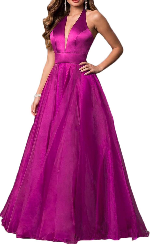 Fuchsia Ri Yun Womens Sexy Halter Prom Dresses Long 2019 Backless ALine V Neck Satin Formal Evening Ball Gowns