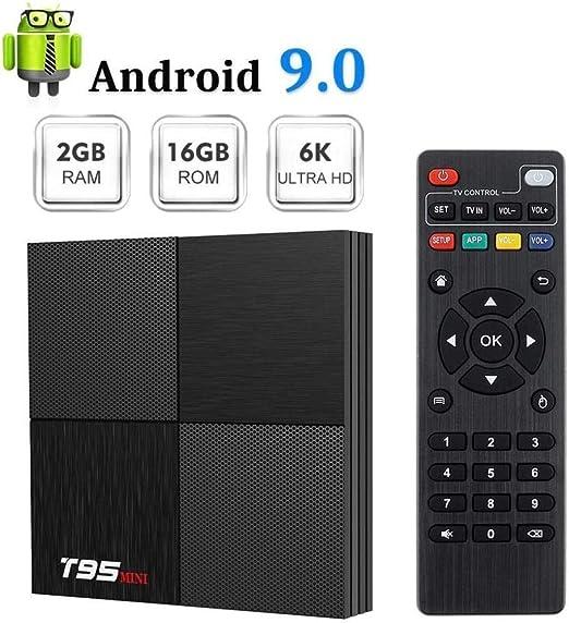hyy Decodificador De Red HD Decodificador De Red HD Android 9.0 2G / 16Gwif Tvbox Caja De