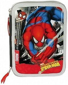 Estuche PLUMIER Doble Spiderman 30 PZAS con Dos Pisos Y Dos Cremalleras: Amazon.es: Juguetes y juegos