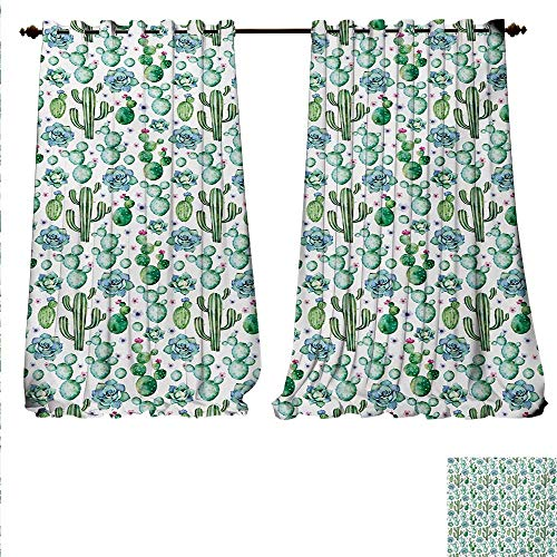 (familytaste Patterned Drape for Glass Door Hand Painted Style Exotic Plant Collection Saguaro Prickly Pear Succulents Spikes Window Curtain Fabric W120 x L108 Multicolor.jpg )