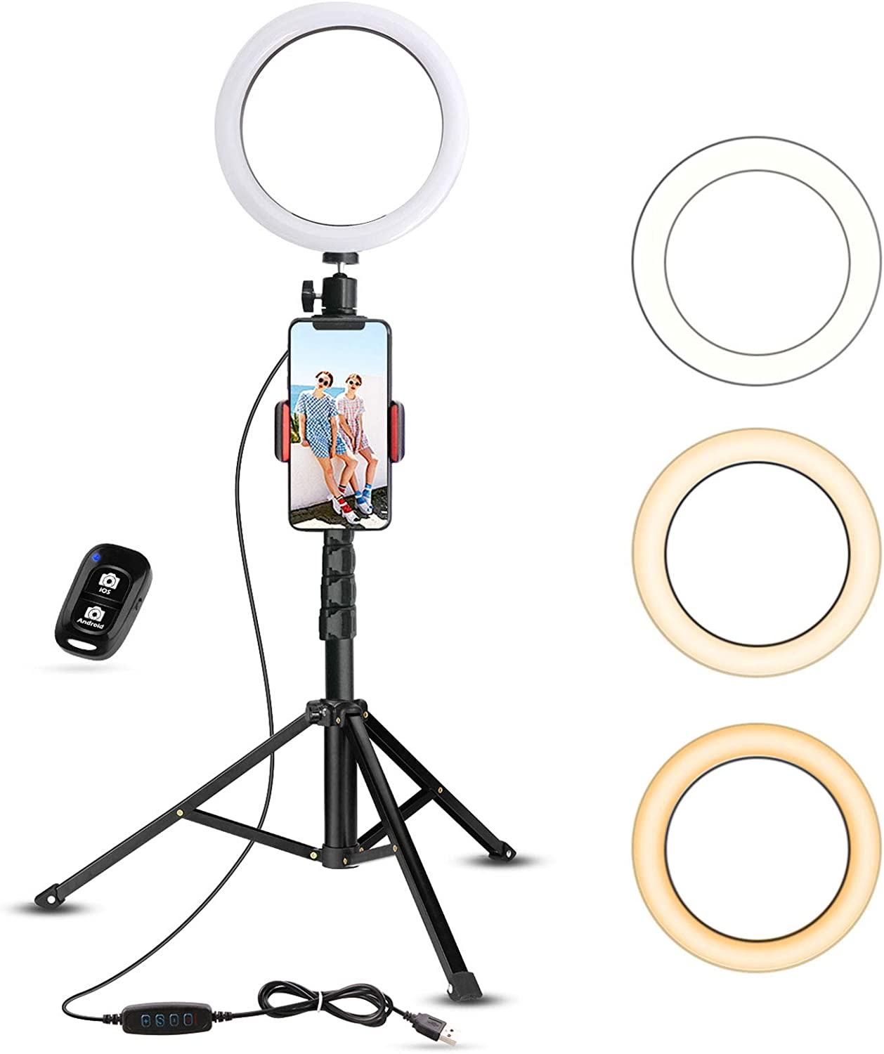 Photography Compatible with iPhone /& Android YouTube Video 15 Colors RGB Flash Dimmable Circle Light with Remote for Makeup 10/'/' RGB Selfie Ring Light with Tripod Stand /& Phone Holder
