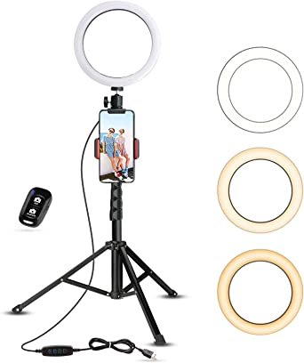 Selfie Ring Light with Tripod Stand & Cell Phone Holder for Live Stream