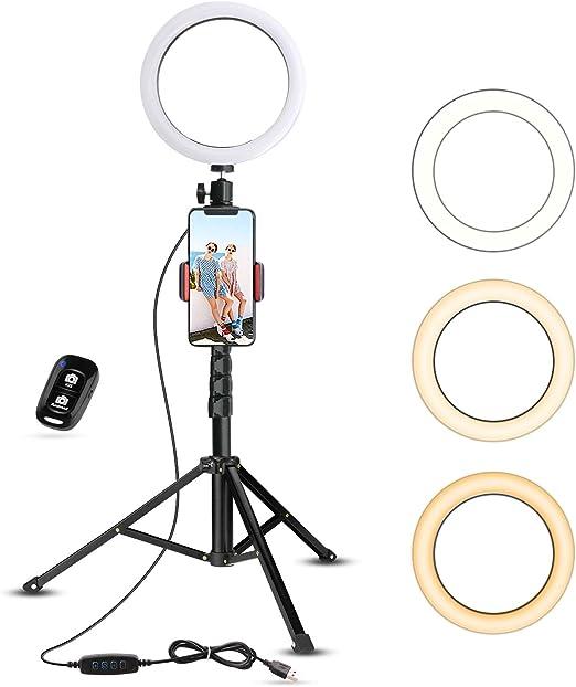 tr/ípode de luz de anillo LED Selfie Fotograf/ía Video Soporte de iluminaci/ón en vivo Soporte de l/ámpara de belleza para HTC Vive VR retrato y fotograf/í video Soportes de luz para estudio fotogr/áfico