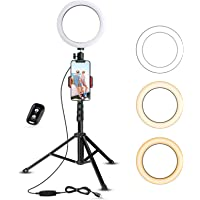 Selfie Ring Light with Tripod Stand & Cell Phone Holder for Live Stream/Makeup, UBeesize Mini Led Camera Ringlight for…