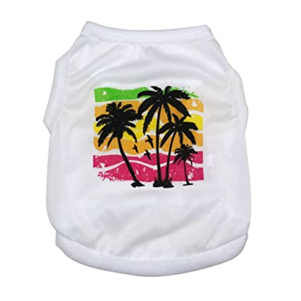 9d1f0a02a Voberry Small Dog Shirt, Coconut Trees Fashion Funny Cotton T-shirt Vest  for Pet