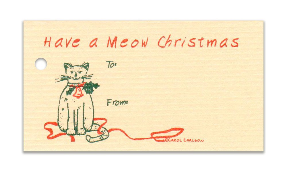 Amazoncom 15 Tags Meow Cat Christmas Tan Gift Tags Strings