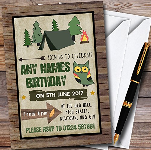 Wood Background Camping Personalized Childrens Party Invitations